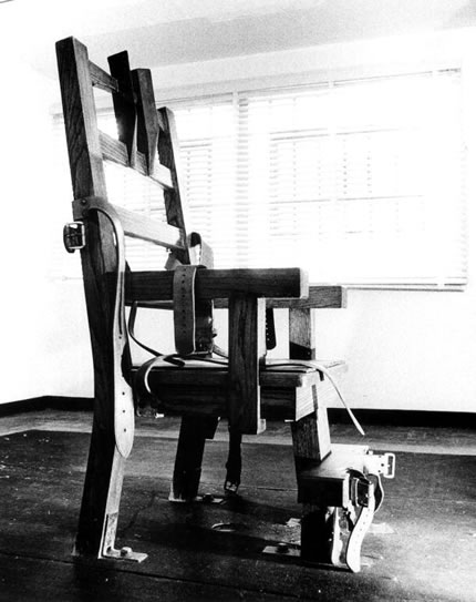 The electric chair is an execution method in which the person being killed