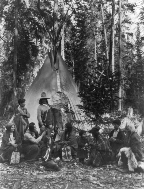 G. G. Bain - Flathead Indians holding family gatherings on the west side of Glacier National Park